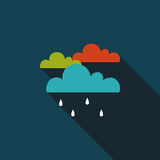 Rain flat icon with long shadow. Cartoon vector illustration royalty free illustration