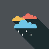 Rain flat icon with long shadow. Cartoon vector illustration stock illustration
