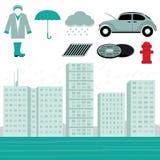 Rain and Flood Scene Vector Stock Photos