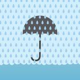 Rain Flood Umbrellav. Umbrella behind rain storm and above flood Royalty Free Stock Photography