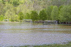 Rain Flooded Soccer Field Royalty Free Stock Photo