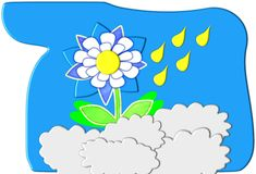 Rain Flower Cut Out Cartoon Stock Image
