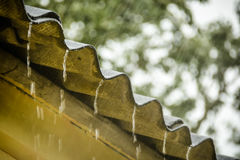 Rain flows down from a roof down Royalty Free Stock Images