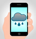 Rain Forecast Online Indicates Mobile Phone And Climate Royalty Free Stock Photos