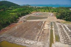 Rain forest destruction for shrimp farm form Aerial view Stock Image