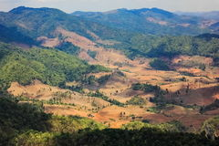 Rain forest destruction in Thailand. Form Aerial view stock photo