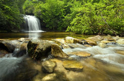 Rain Forest Waterfall. A rain forest waterfall and stream in Panthertown, North Carolina (this waterfall is named Schoolhouse Falls royalty free stock photo