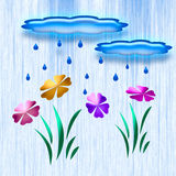 Rain in the garden art Royalty Free Stock Photos