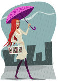 Rain and girl royalty free illustration