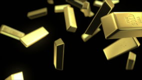 Rain of gold bars. Seamless looping 3d animation with depth of field stock illustration