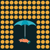 Rain of gold dollar coins and an umbrella in his hand. Protection against dollar expansion Vector Illustration