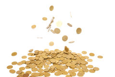 Rain of golden coins Stock Photos