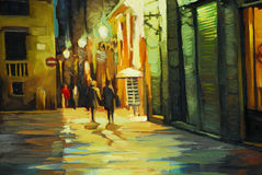 Rain in gothic quarter of barcelona, painting Stock Photo