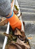 Rain Gutter Cleaning from Leaves in Autumn with hand. Roof Gutter Cleaning Tips. royalty free stock images