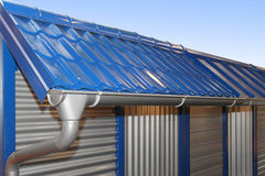 Rain gutter. Complete system of rain gutter for collects rainwater Royalty Free Stock Photography