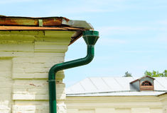 Rain gutter with drainpipe Stock Image