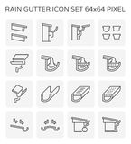 Rain gutter icon. Set, 64x64 perfect pixel and editable stroke royalty free illustration