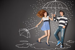 In the rain. Happy valentines love story concept of a romantic couple in the rain against chalk drawings background vector illustration