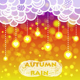 Rain of heart and stars with clouds, autumn. Vector illustration with doodle clouds and boken background Royalty Free Stock Photography