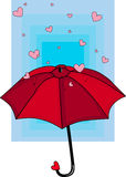 Rain of Hearts. Hearts fall on red umbrella with blue background stock illustration