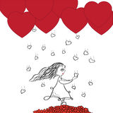 Rain of Hearts and Girl Royalty Free Stock Image