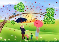 Rain of hearts Royalty Free Stock Images