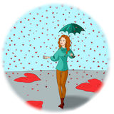 Rain of hearts. Yuong woman with umbrella is walking in the rain of hearts Royalty Free Stock Photos