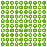100 rain icons hexagon green. 100 rain icons set in green hexagon isolated vector illustration Stock Illustration