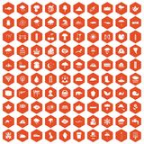 100 rain icons hexagon orange Royalty Free Stock Images