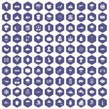 100 rain icons hexagon purple. 100 rain icons set in purple hexagon isolated vector illustration Royalty Free Stock Image