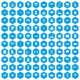 100 rain icons set blue. 100 rain icons set in blue hexagon isolated vector illustration Vector Illustration