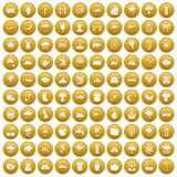 100 rain icons set gold. 100 rain icons set in gold circle isolated on white vector illustration Stock Photography