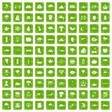 100 rain icons set grunge green Stock Photo