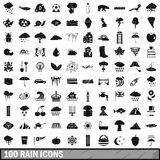 100 rain icons set, simple style. 100 rain icons set in simple style for any design vector illustration Stock Photography