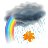 Rain illustration. Realistic gray clouds, raindrops and rainbow. Rain illustration. Realistic gray clouds, raindrops, rainbow and falling orange maple leaf Royalty Free Stock Photo