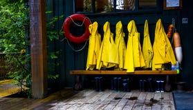 Rain Jackets Tofino, BC. Rain Jackets in Tofino, British Columbia Stock Images