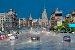 Rain on Kutuzov Avenue. Center of Moscow, in the summer in July Royalty Free Stock Photos