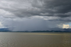 Rain at Kwahn Phayao or Phayao Lake Royalty Free Stock Images