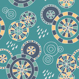 Rain in Kyoto - seamless pattern. Cute hand-drawn pattern with Japanese umbrellas and raindrops. Vector background stock illustration