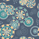 Rain in Kyoto - seamless pattern. Cute hand-drawn pattern with Japanese umbrellas and raindrops. Vector background royalty free illustration