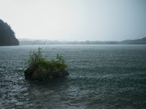 Rain on the lake Weissensee Stock Photos