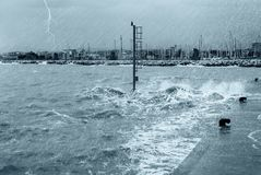 Rain lightning and big waves Royalty Free Stock Images