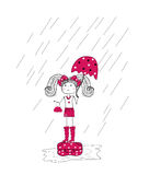 Rain and a little girl in a pink dress Stock Images