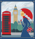 Rain in London. Urban girl on a side walk. Big ben on the background Royalty Free Stock Image