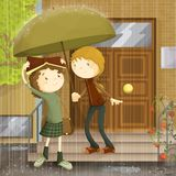 Rain of love. Boy meet girl children style illustration, saving her from the rain with an umbrella vector illustration