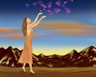 Rain of love. Happy Valentine`s Day. vector illustration