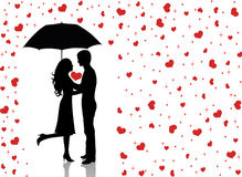 Rain of love2. Silhouettes of man and woman standing and hugging. Man holding an umbrella. Raining hearts Royalty Free Stock Photography