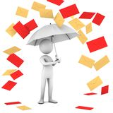 Rain Of Mail. Three-dimensional,  isolated on whit. E Royalty Free Stock Photography