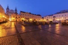 Rain on Market Square in Piotrkow Trybunalski Stock Photos