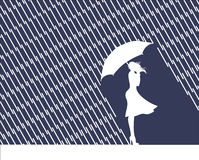 Rain and mind. Women with umbrella Stock Photos